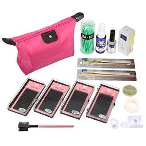 Kit d'Extension de Cils Luckyfine, Kit Professionnels Faux Cils Extension Naturel, kit d'Extension de Cils Professionnel, avec Trousse de Maquillage des Cils