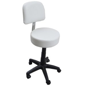 Eyepower Tabouret de Travail MST-405 chaise pivotante 360° réglable en hauteur siège rembourré avec roulettes dossier | poids supporté 120 kg | idéal pour coiffeur esthéticien cabinet médical | blanc