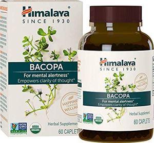 Himalaya Bacopa Monnieri/Brahmi   Supplément pour le cerveau, nootropique et renforcement cérébral   Pour la concentration + la mémoire + la clarté   60 comprimés, 750mg, approvisionnement pour 2 mois