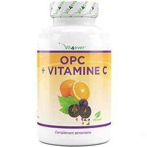 OPC Extrait avec vitamine C – 180 gélules – 1050 mg d'extrait de pépin + 150 mg Vitamin C par dose quotidienne – Stock de 3 mois – Végan – Absorption optimale