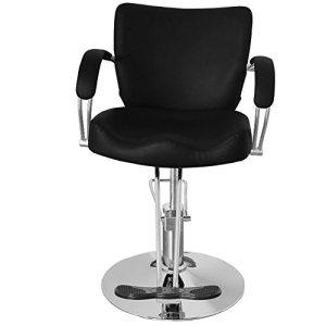 QIVANGE Chaise de coiffeur réglable et inclinable en similicuir PU (noir)