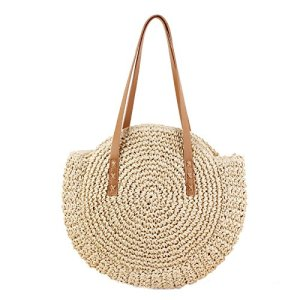 43 x 10 x 62cm Round Straw Beach Bag Woven Shoulder Bag Handbag – Beige