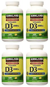Kirkland Signature Une résistance maximale Vitamine D32000I.u. 600Capsules Molles, Bouteille personnelle Soins de santé/Soins de santé, 4 Paquet de
