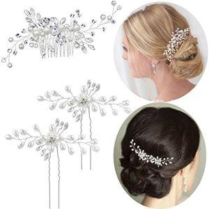 3pcs Peigne Epingle Pince Cheveux Mariage Femme Bijoux Cheveux Perles Mariée Argenté en Strass Cristal Accessoire Cheveux Mariage pour Mariée Demoiselles d'Honneur
