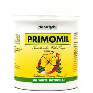 PRIMOMIL 1000 mg (oméga-6) – Huile d'onagre (1ière pression à froid) + Vitamine E (d-alpha) – 90 sotfgels/capsules molles
