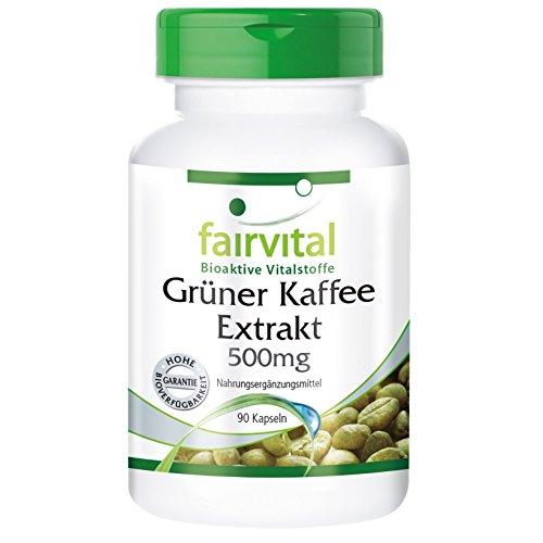 Extrait de café vert 500mg – pour un mois – végan – dosage élevé – 90 capsules – normalisé à 45% d'acide chlorogénique