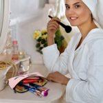Sac Cosmétiques Toile Trousses de Maquillage avec Motif de Cils Maquillage Pochettes de Voyage Cosmétiques Trousses de Toilette pour Femmes et Filles