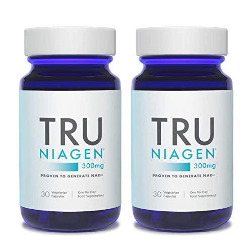 TRU NIAGEN Chlorure de riboside de nicotinamide – Précurseur breveté NAD pour la réduction de la fatigue et de la fatigue, capsules de 300 mg végétariennes, portion, bouteille de 30jours(paquet de 2)
