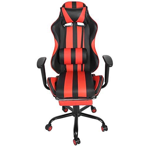 Les-Theresa Chaise de Jeu de Massage Chaise de Jeu d'ordinateur Ergonomique avec Appui-tête d'appui-Pied d'oreiller Lombaire(Rouge Noir)