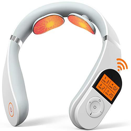 Masseur Cervical, Masseur de Nuque Portable SHEON, Appareil de Massage de Cou Intelligent à Impulsion électrique Avec Fonction de Chauffage, 6 Modes & 16 Intensités, Télécommande intelligente