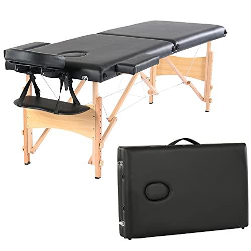 Table de Massage Pliante Professionnel, Lit Cosmétique 2 Sections Massage Portable Ergonomique (Black)