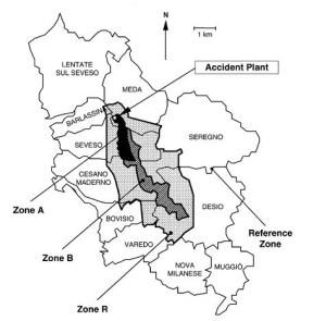Division de la région en zone A, B et R