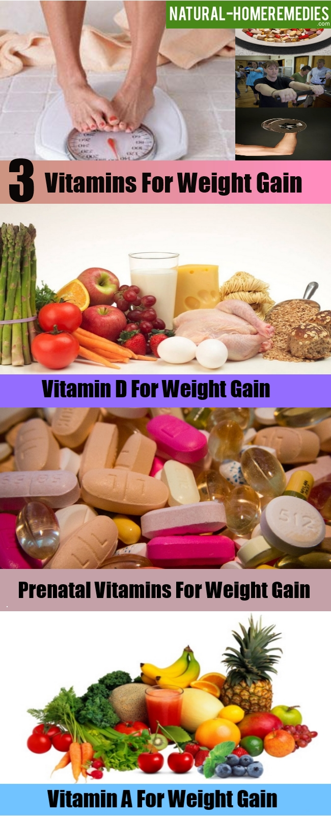 3 Vitamins For Weight Gain – Natural Home Remedies & Supplements