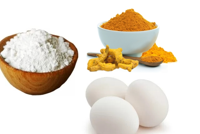 Baking Soda, Egg White And Raw Turmeric