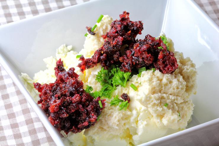 Kefir Cranberry Frischkäse mit Petersilie und Meerrettich - eine Frühstücksidee mit Milchkefir - Die Mischung