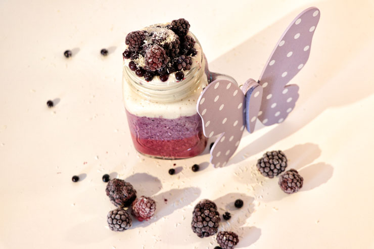 Milk Kefir Berry Breakfast - A kefir dream made of blueberries,blackberries, banana and coconut - main picure
