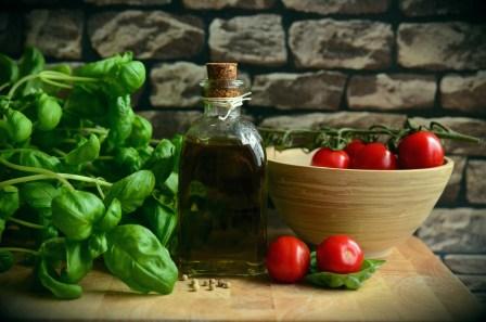 olive oil, tomatoes, basil, greek salad