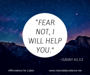 affirmations for labor fear not