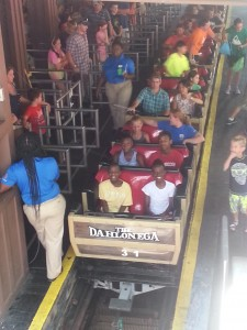 The kids on one of the roller coasters