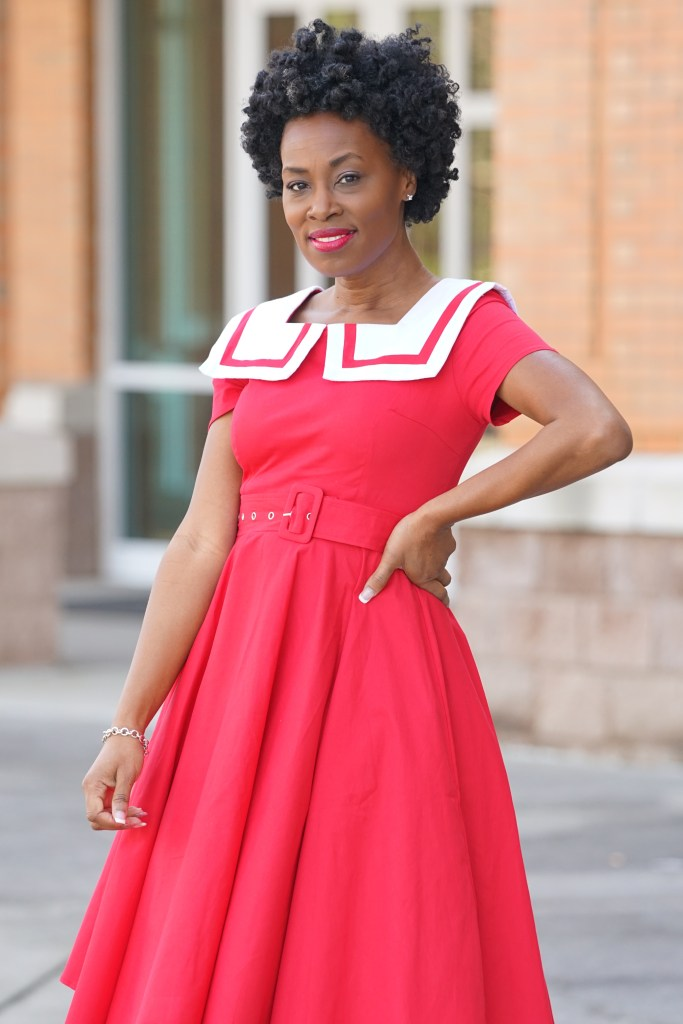 Unique Vintage Sailor Red Dress