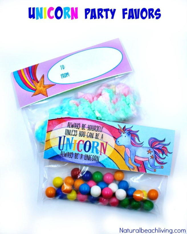 Unicorn Treat Bags from Free Unicorn Printables via Mandy's Party Printables