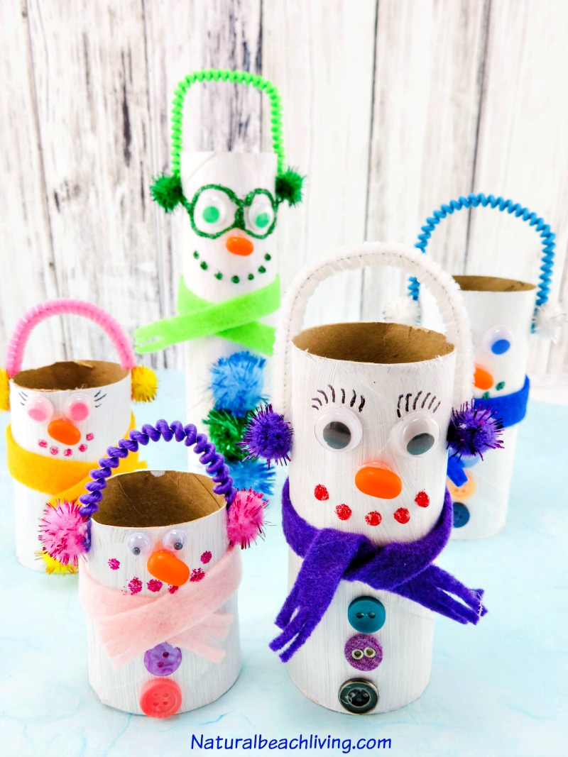 Adorable DIY Toilet Paper Roll Snowman Crafts Natural