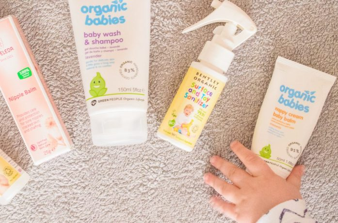 Jonah reaches for the natural baby care products