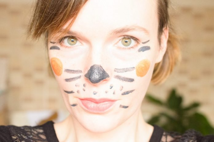 The cat look using safe Halloween makeup I made at home
