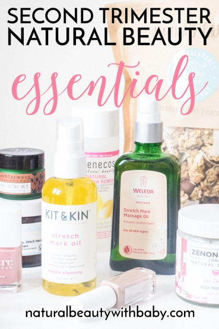 Find out my second trimester pregnancy essentials for natural beauty, skincare, and health. Healthy stretch mark oils, non-toxic nail polish, pregnancy snacks, and more!