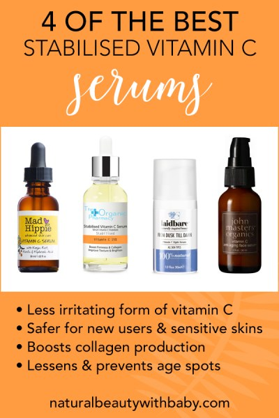 Everything you need to know about stabilised vitamin C, a form of vitamin C great for sensitive skin. What to look for, application tips, product roundup of best stabilised vitamin C serums to try. #naturalbeauty #vitaminc