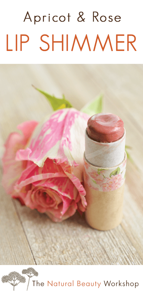 How to make Apricot Rose Lip Shimmer - a fruity and floral scented lip balm with a sheer pink tint