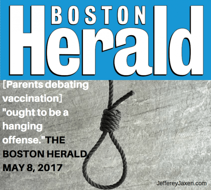 """Hang The Anti-Vaxxers"" Is Called For By The Boston Herald Newspaper"