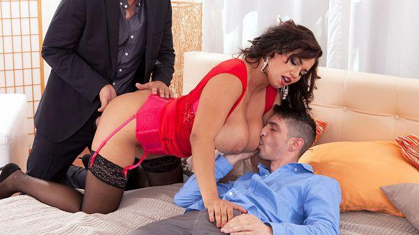 Busty Chloe Lamoure double penetration hardcore sex