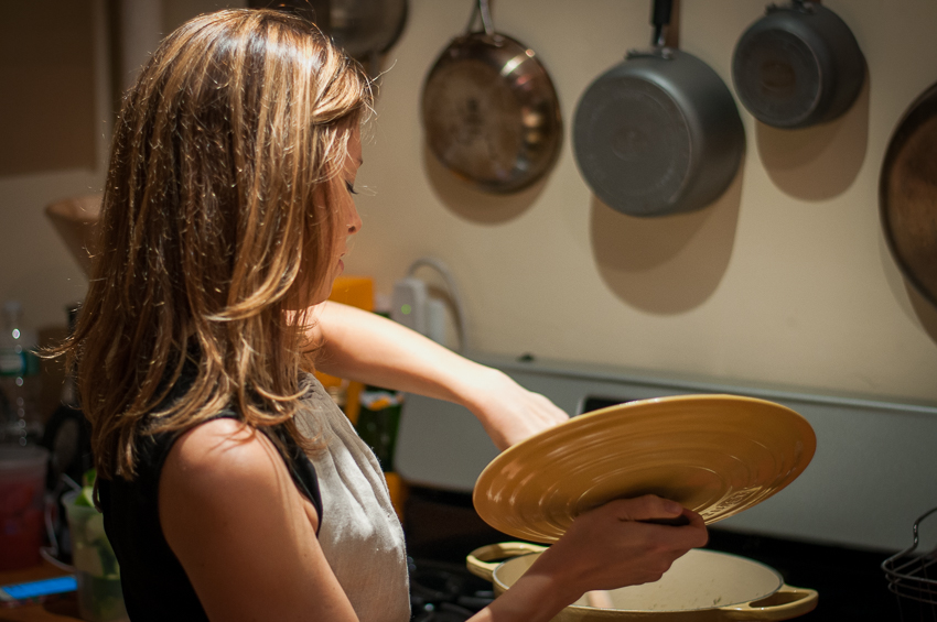 Personal chef Tessa at work on ratatouille