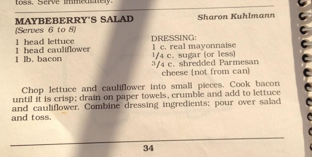"Church Cookbook ""BLT"" Salad recipe"