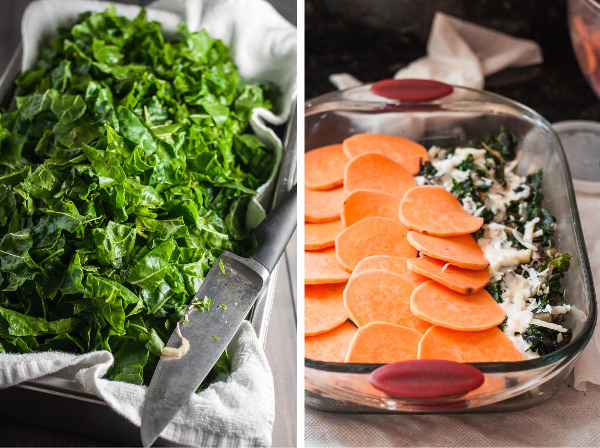 An impressive, make ahead-friendly winter dinner party menu featuring swiss chard and sweet potato gratin.