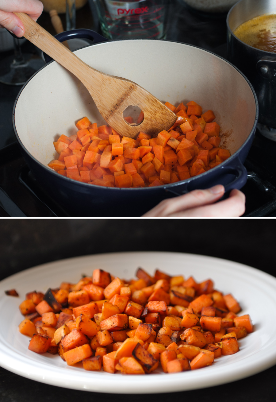 Pan fried sweet potatoes for #meatless loaded potato risotto