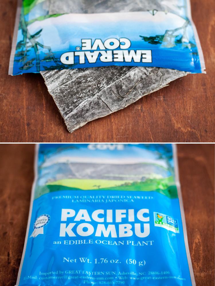 Kombu for homemade dashi and mushroom noodle soup