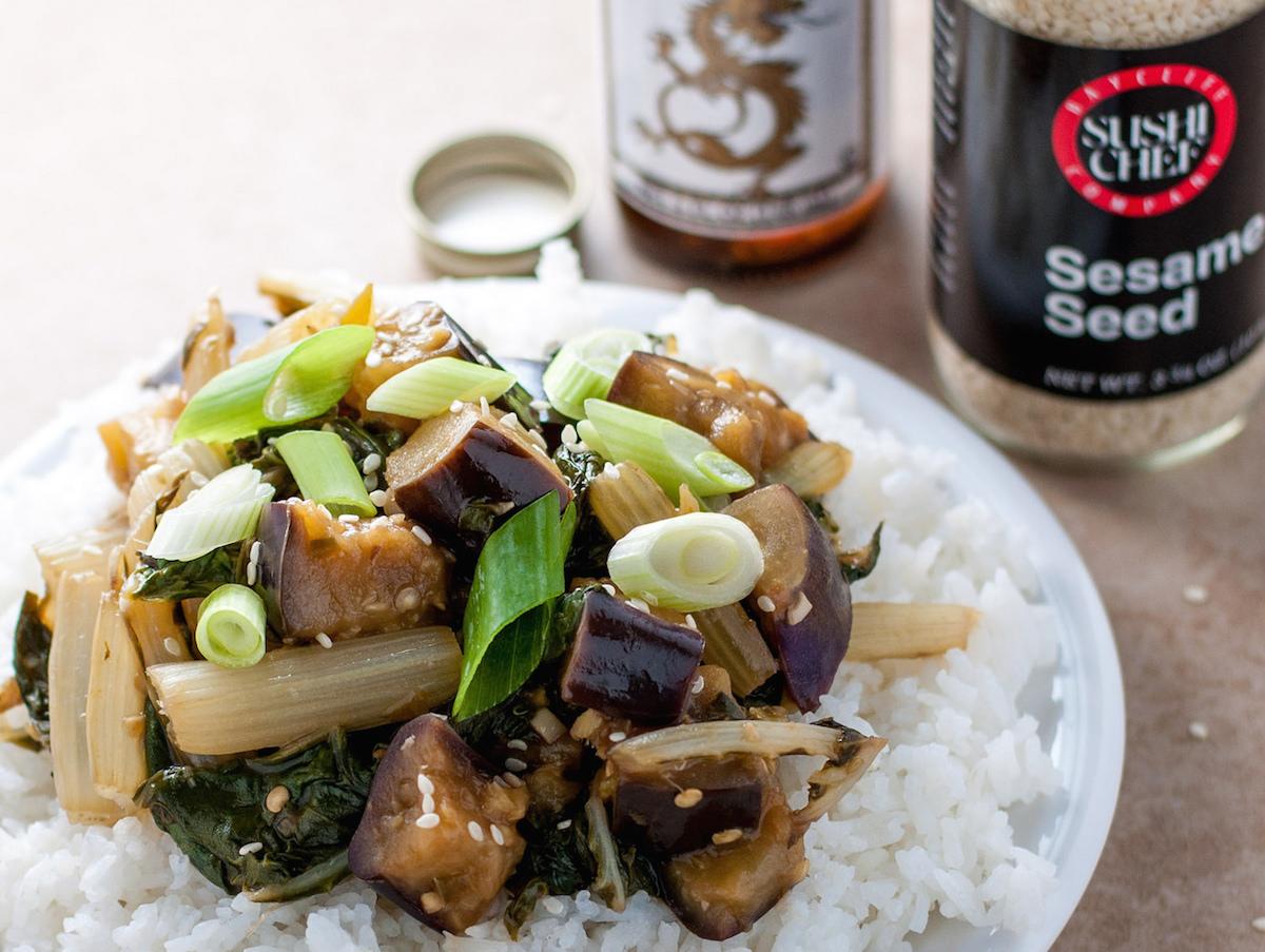 Eggplant and Swiss chard stir fry recipe