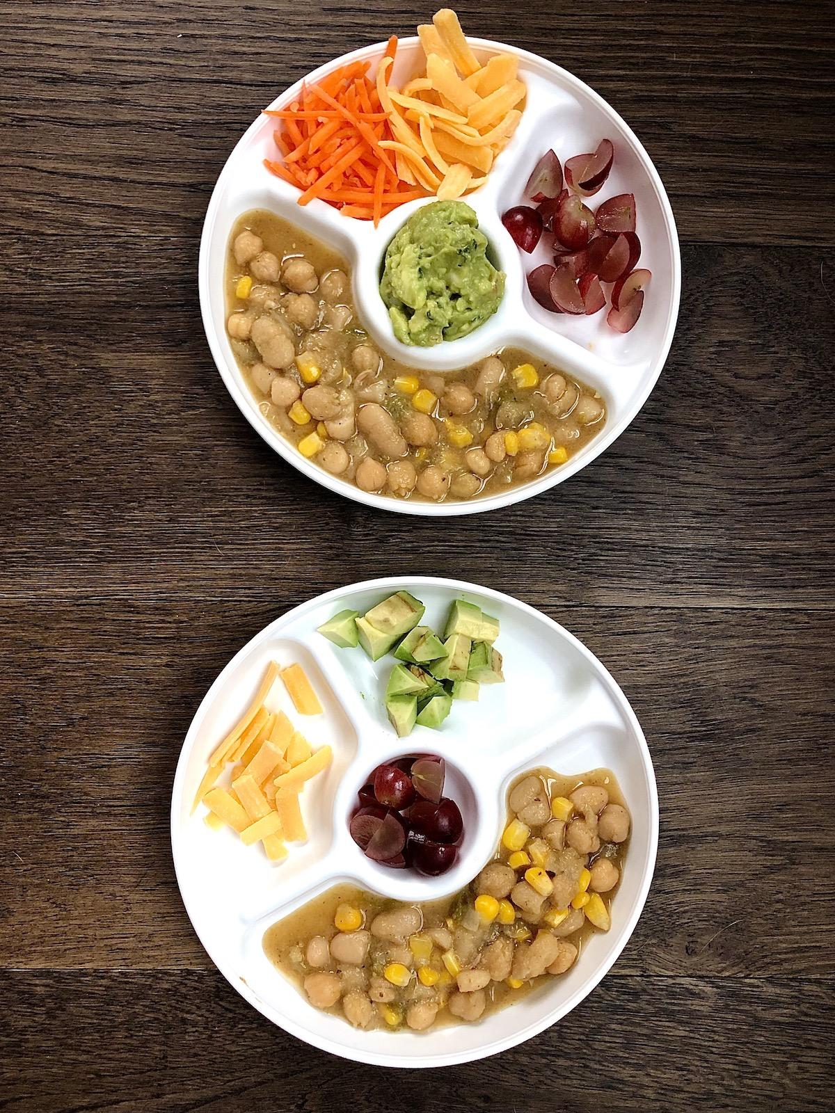 Toddler plates of vegan white chili beans