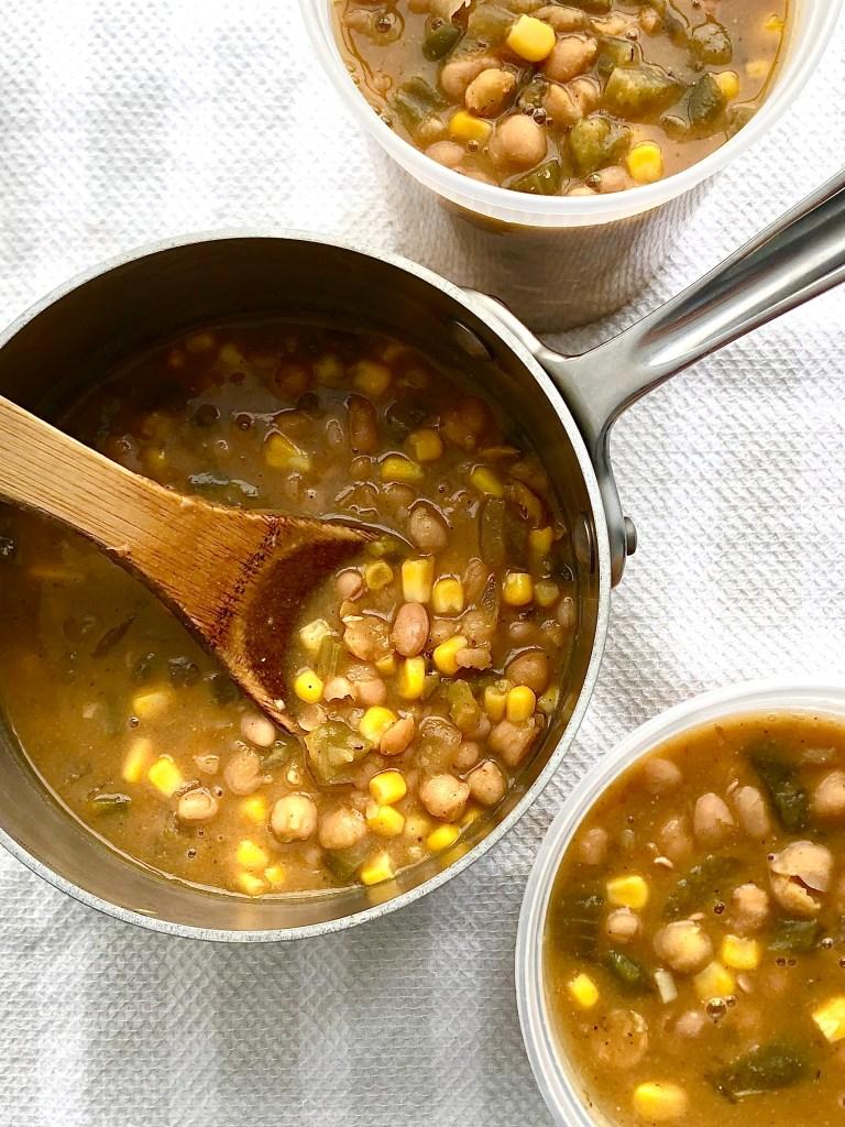 Pot of white bean chili