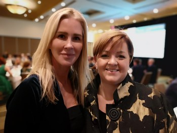 Mayor Ackerman, at the CEPY 2019 investiture dinner with LNG Canada's Susannah Pierce (left), who nominated her for the award.