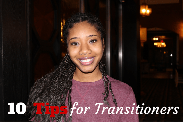 African American girl transitioning to natural hair