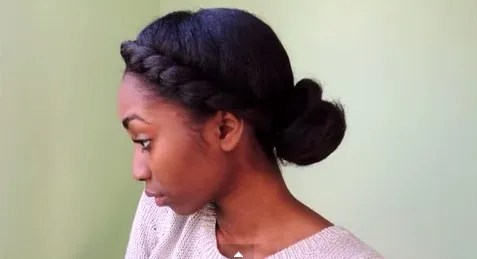 low bun with twist in the front