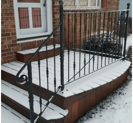 How To Replace An Outside Iron Railing Set In Cement | Wrought Iron Handrail For Steps | Aluminum | Simple | Front Door Step | Forged Iron | Custom