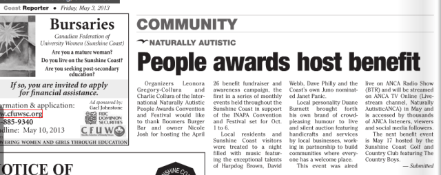April 26 monthly awareness campaign for the October 1-6 2013 4th annual International Naturally Autistic People Awards Convention and Festival