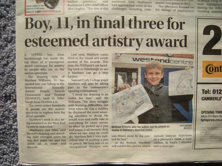 newspaper article matthew Williams 2014 nominee