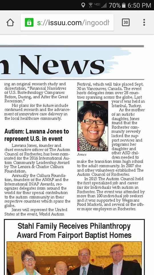 Lawana Jones newspaper article 2016 nominee