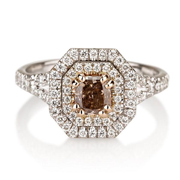 Fancy Pink Brown Diamond Ring Radiant 060 Carat