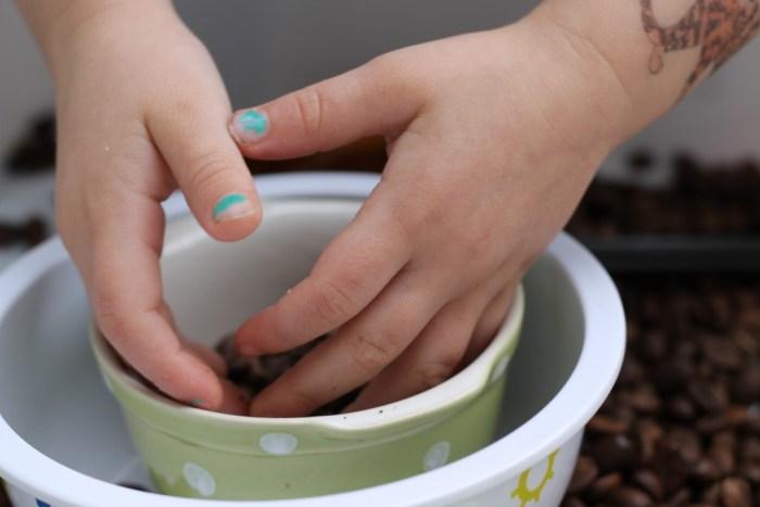 sensory box - coffee beans - hand